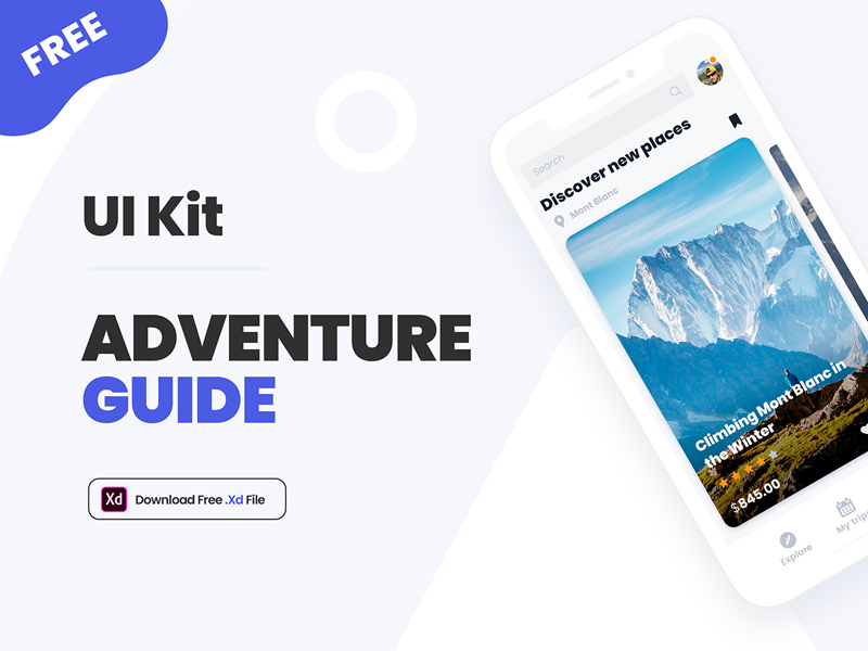 Adventure Guide UI Kit For Adobe XD | Free Xd Templates