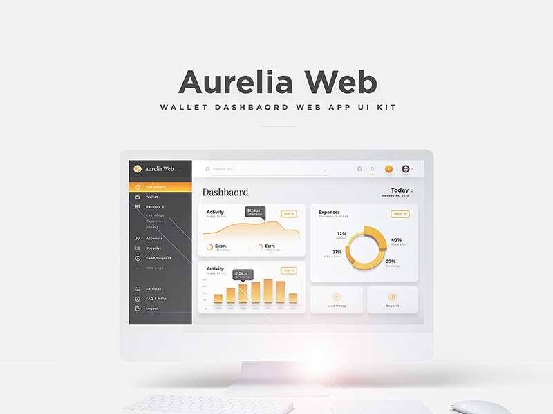 Aurelia Web - Elegant Dashboard Web App UI Kit For Adobe XD | Free