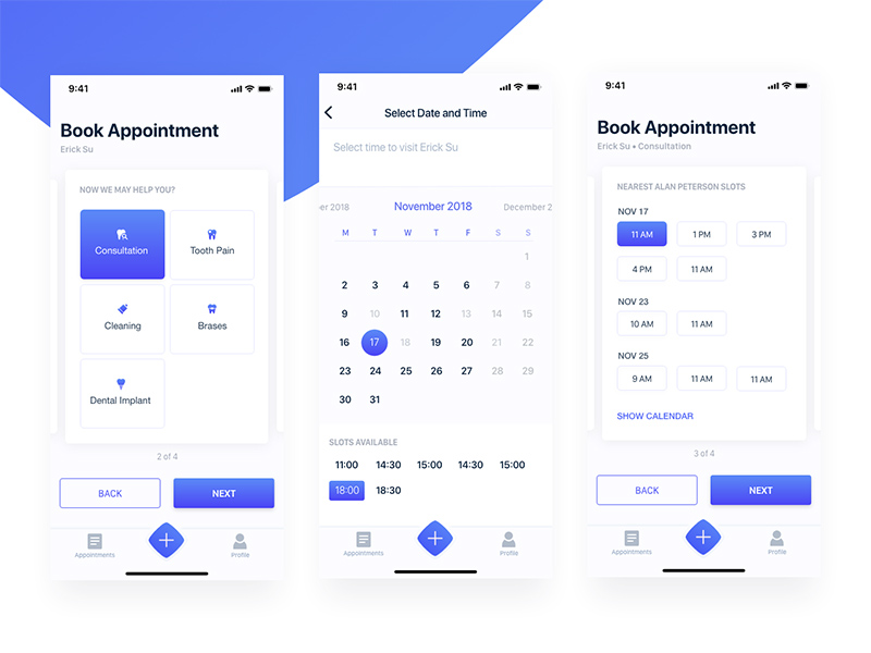 Book An Appointment Mobile App | Xd UI Kit | Free Xd Templates