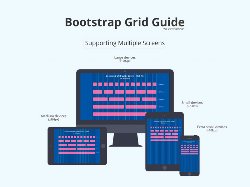 Bootstrap Grid Guide | Free PSD Template | PSD Repo