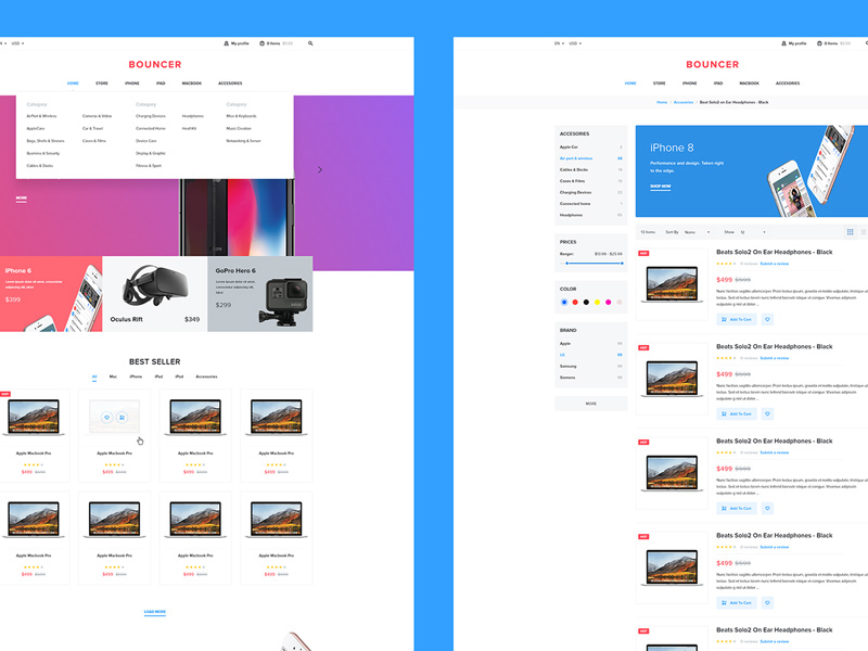 Bouncer Ecommerce UI Kit For Adobe XD | Free Xd Templates