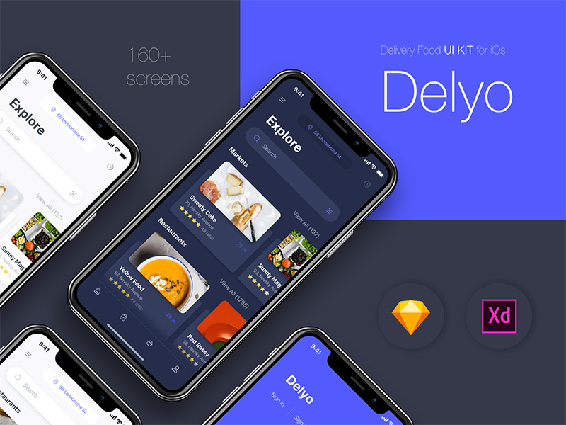 Delyo Food Delivery App | Free Xd Templates