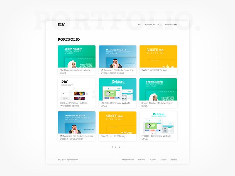 Free Personal And Portfolio Wordpress Theme - DIA | Free PSD