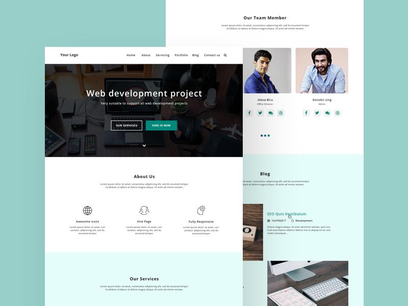 Web Development Homepage Web Design Template Free Psd Template Psd Repo