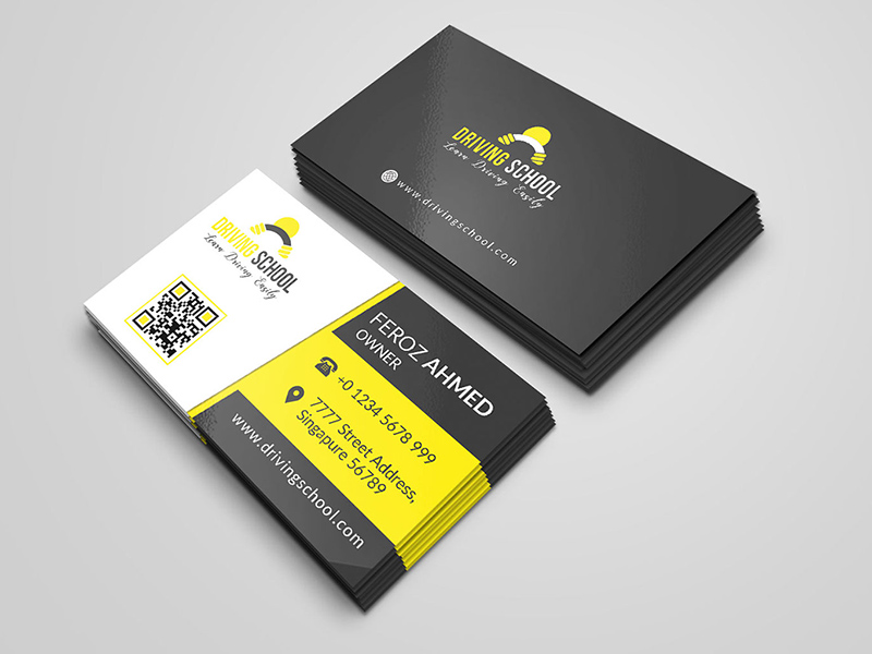 Driving School Business Card Free Psd