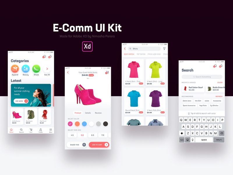 E-Comm UI Kit For Adobe XD | Free Xd Templates