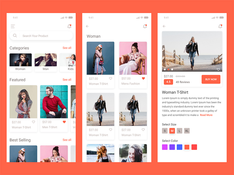 E-commerce App - Free Xd UI Kit | Free Xd Templates