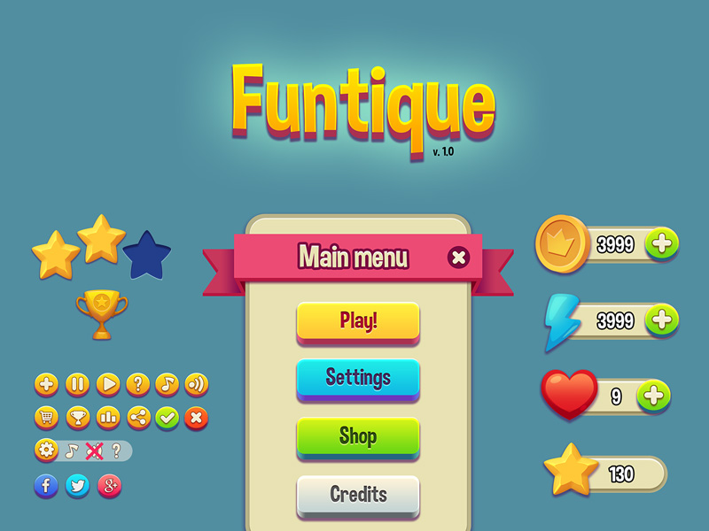 Funtique Game UI Kit | Free PSD Template | PSD Repo