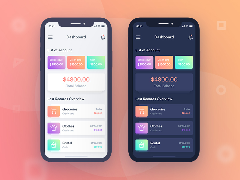 Finance Mobile App UI - Adobe XD | Free Xd Templates