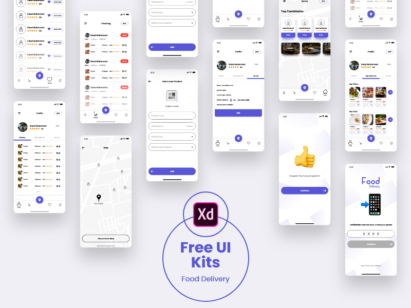 Adobe Xd Food Delivery UI Kit | Free Xd Templates