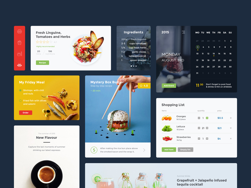 Food & Drink UI Kit For Adobe XD | Free Xd Templates