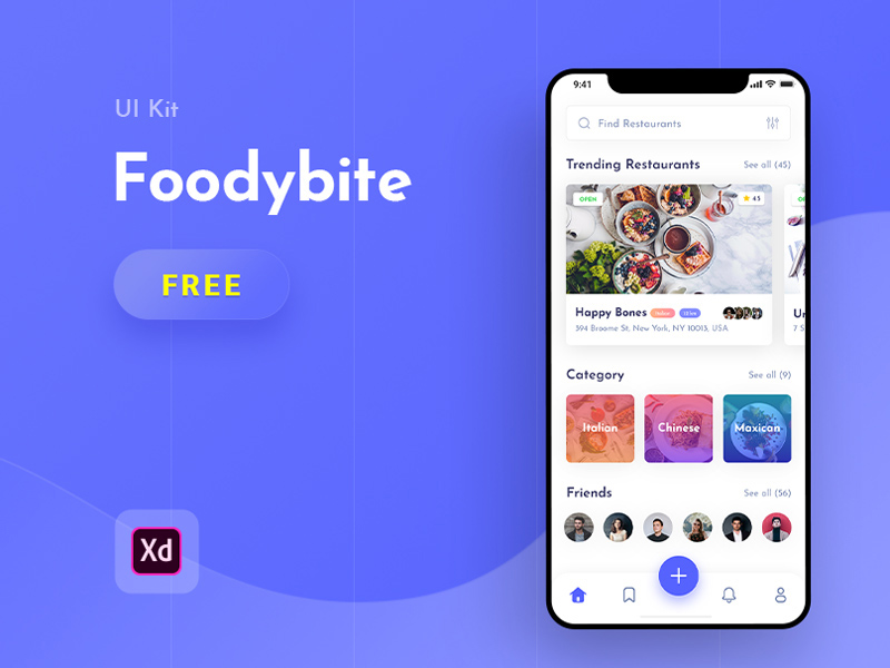 Food UI Kit For Adobe XD | Foodybite | Free Xd Templates