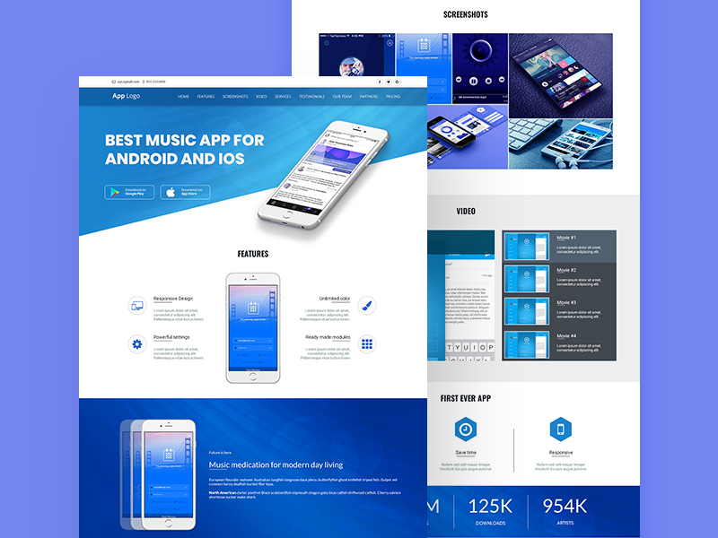 android app landing page template free