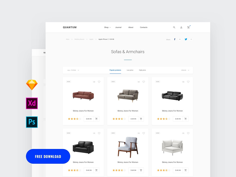 Adobe Xd Commerce Category Page Template | Free Xd Templates