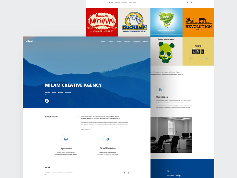 Milam Agency Website Template   Free PSD Template   PSD Repo
