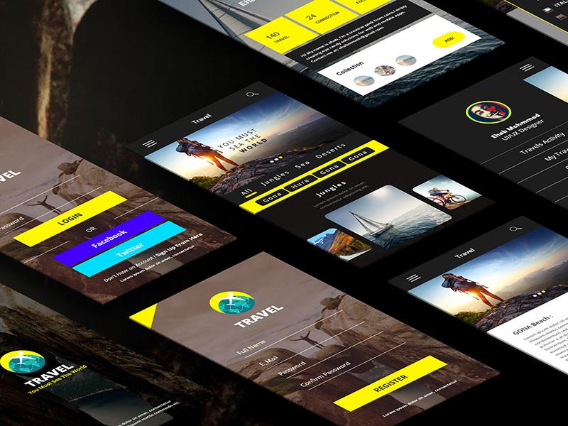 Adobe XD Travel Mobile Application - UI/UX Design | Free Xd Templates