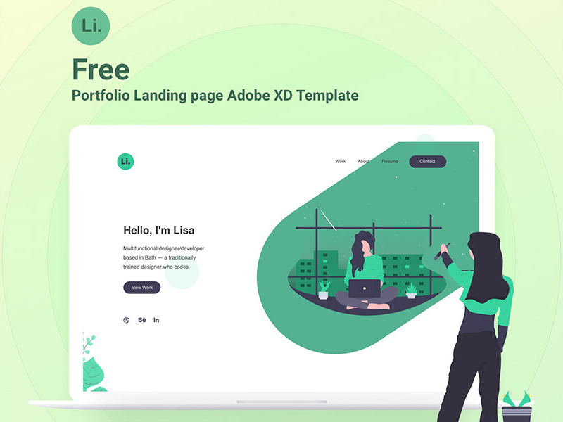 Adobe Xd Portfolio Landing Page Template Free Xd Templates