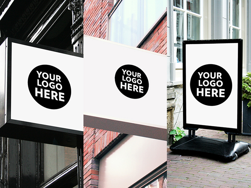 Restaurant Coffee Office Signs Mockups Free Psd Template