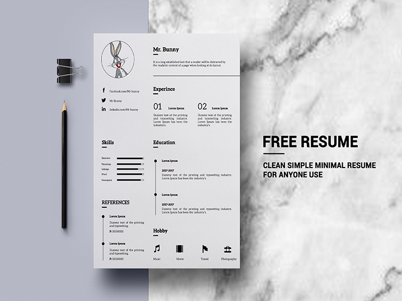 free minimalistic resume template
