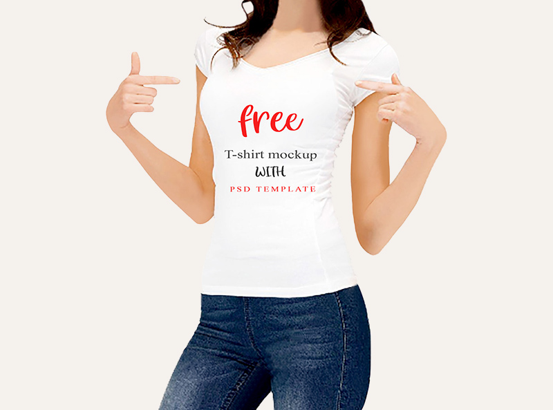 Woman T Shirt Mockup Design Template Free Psd Template Psd Repo