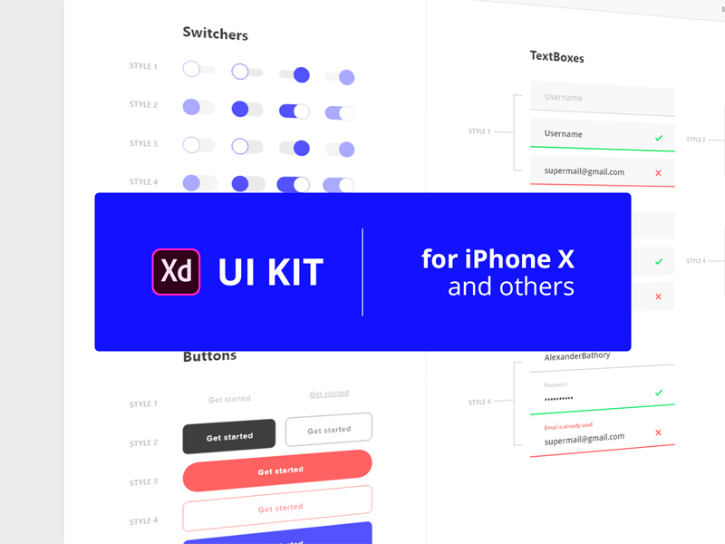 Free Adobe Xd UI Kit #1 | Free Xd Templates