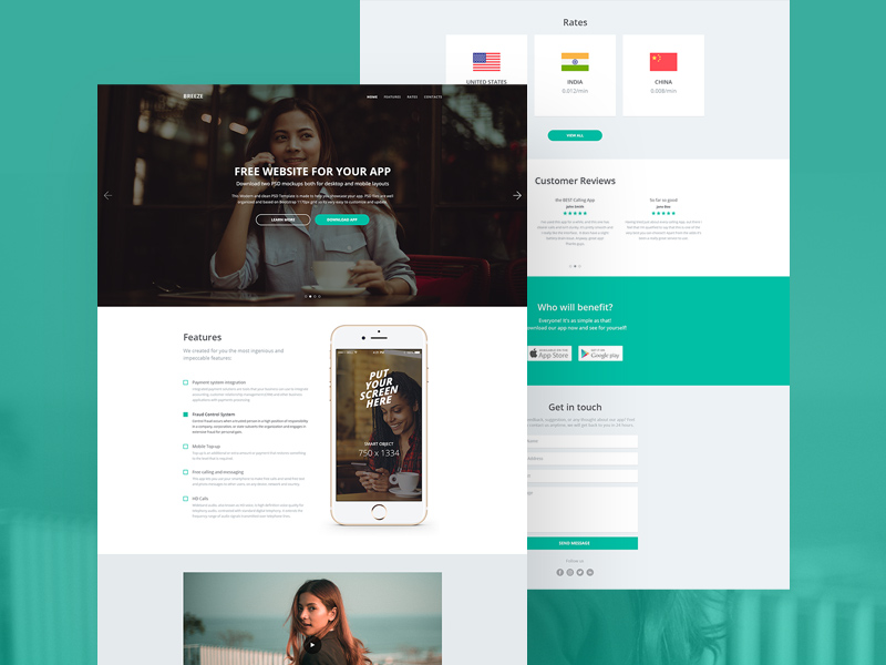 Breeze Responsive Website Template Free Psd Template Psd Repo