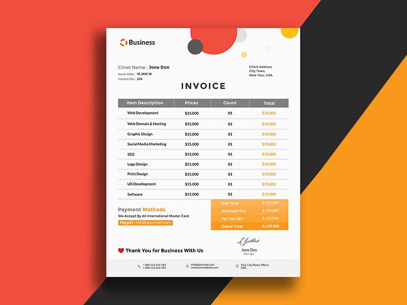 Minimalistisc Invoice Template
