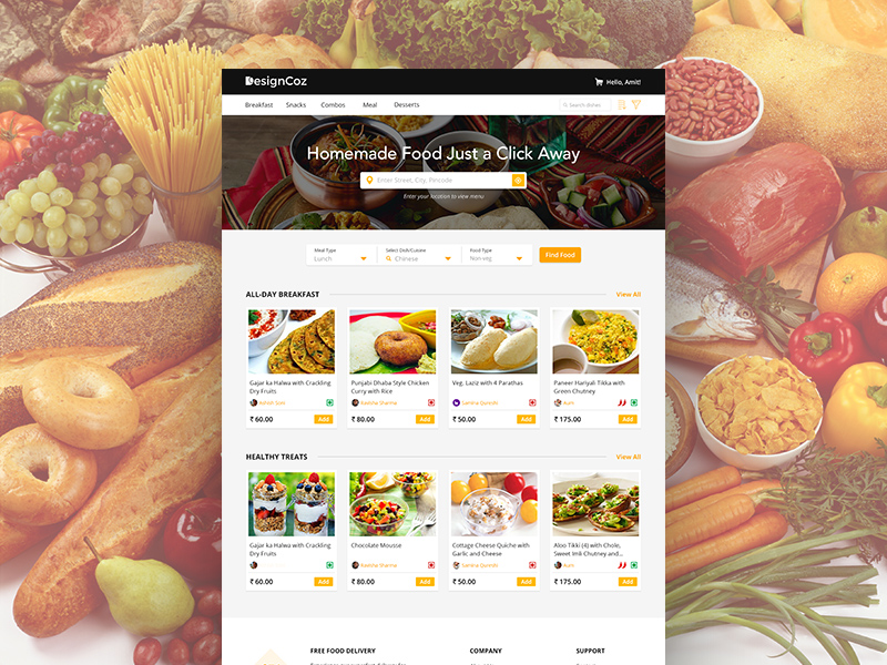 Food App Website Landing Page Template Free Psd Template Psd Repo