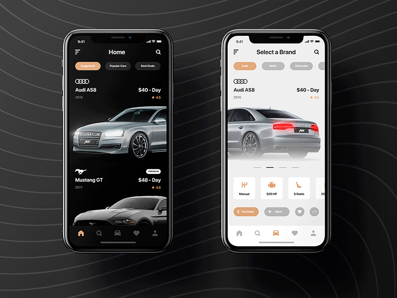 Rental Car App Light & Dark | Free PSD Template | PSD Repo