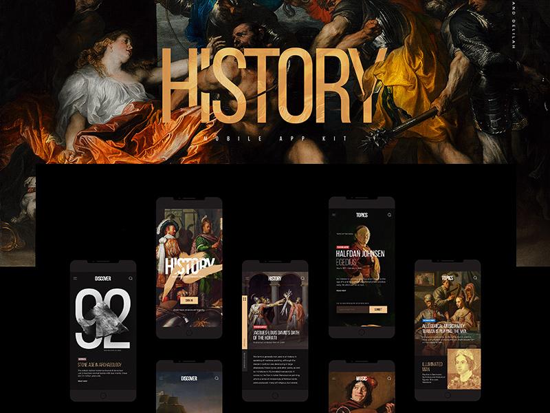 History Mobile App UI Kit | Free PSD Template | PSD Repo