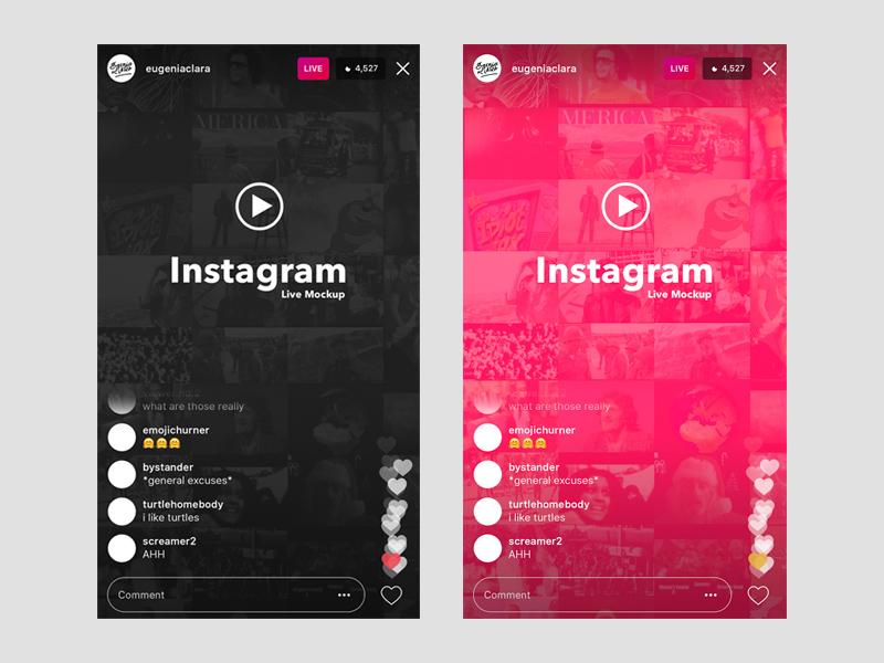 instagram layout psd instagram live (ios) ui template & mockup | free psd