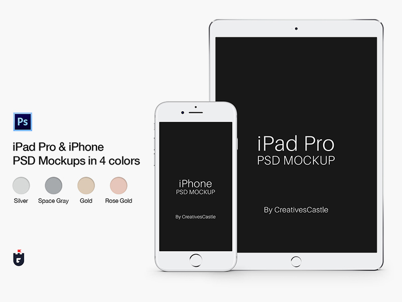Iphone Ipad Pro Psd Mockups In Four Colors Free Psd Template