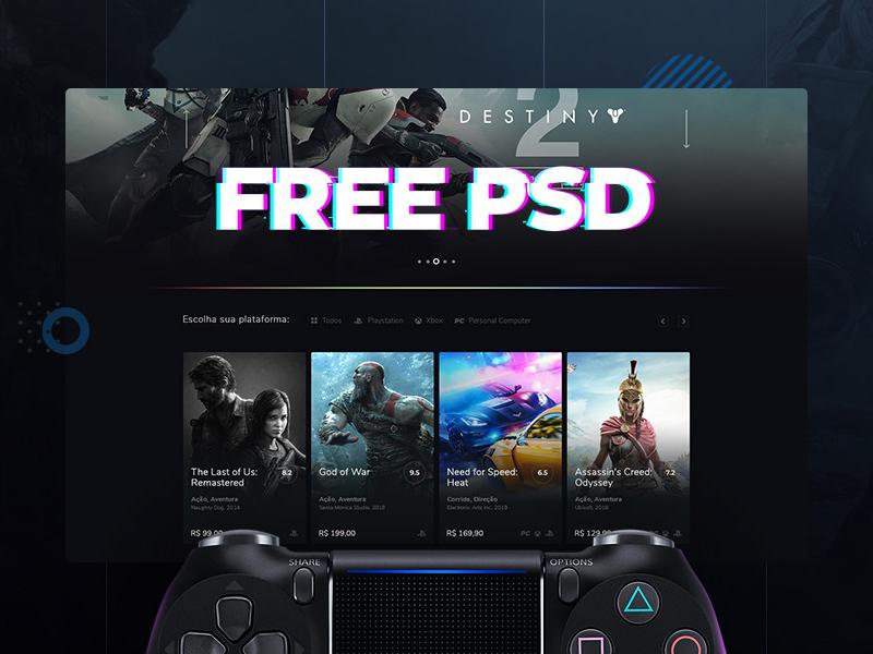 Free Games Website Template from cdn.psdrepo.com