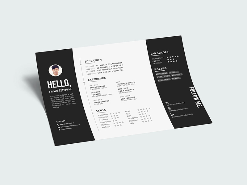 Landscape Cv Resume A4 Template Free Psd Template Psd Repo