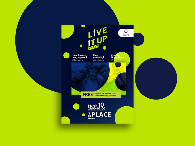Live It Up A4 Poster   Free PSD Template   PSD Repo