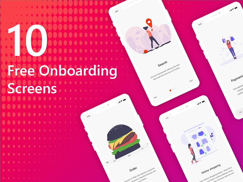 Mobile App 10 Onboarding Screens For Adobe XD | Free Xd Templates