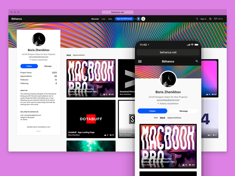 Mobile & Desktop Browser For Adobe Xd | Free Xd Templates