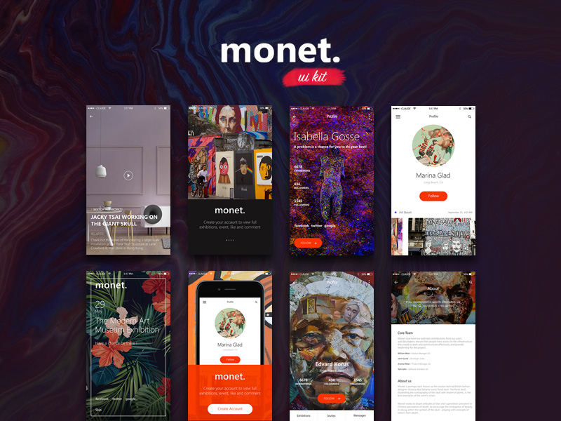 Monet iOS Art UI Kit | Free PSD Template | PSD Repo