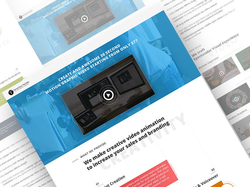 Motion Graphics Web Page Template | Free PSD Template | PSD Repo