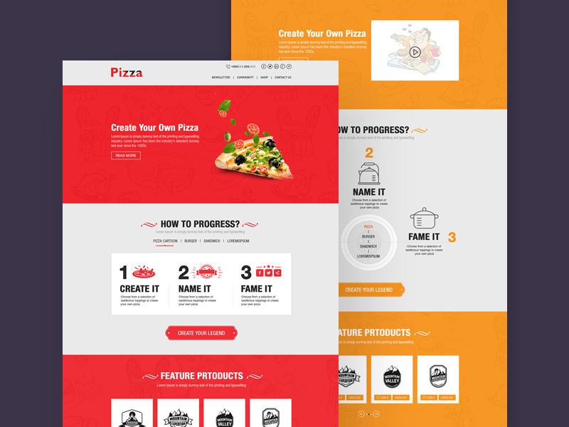 Pizza website template free psd download psd.