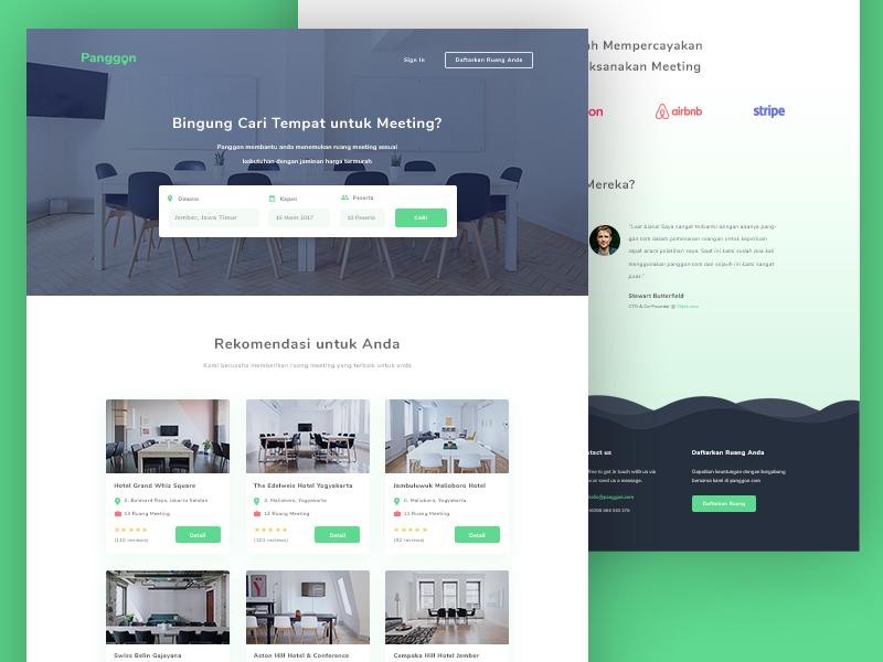 Panggon - Meeting Room Booking Website Template | Free PSD Template