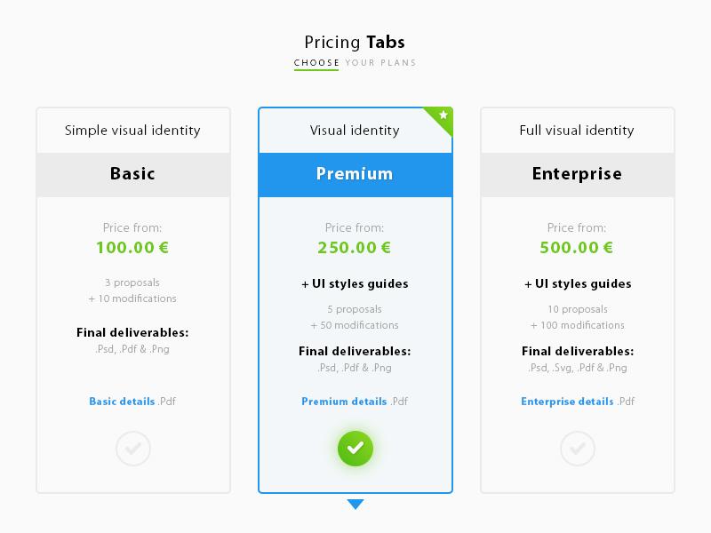 Pricing Tabs UI | Free PSD Template | PSD Repo