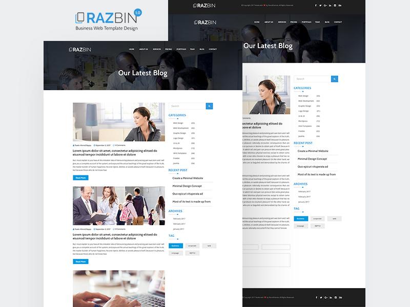 Razbin Digital Agency Website Template   Free PSD Template