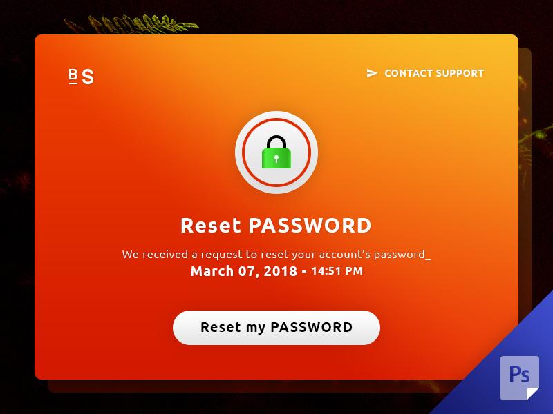 Reset Password UI | Free PSD Template | PSD Repo