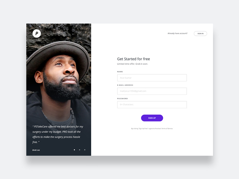 Sign Up Page Design Free Psd Template Psd Repo