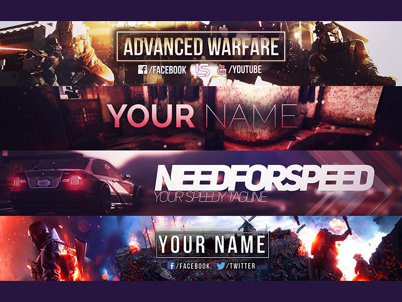 Cover Banner Templates For Youtube Facebook Free Psd